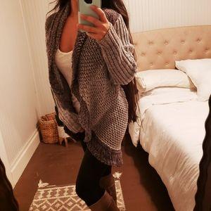 Cabi Chunky Open Knit Waterfall Cardigan Sweater S